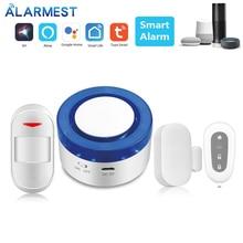 ALARMEST Smart Siren  WIFI Alarm mini siren alarm siren motion sensor  compatible with Amazon Alexa mini hand crank operated emergency alarm siren loud110db abs free shipping