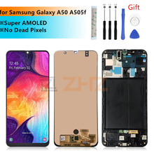 For Samsung Galaxy A50 lcd a505f SM A505FN/DS A505F/DS Touch Screen Digitizer Assembly +frame for samsung a50 lcd repair parts