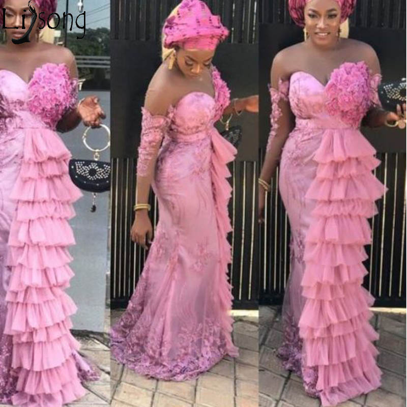 US $126.65 15% OFF|Nigerian Style Pink Mermaid Evening Dress Plus Size Aso  Ebi Tiered Tulle Sweetheart Lace Vintage Prom Dresses Gown Abendkleider-in  ...