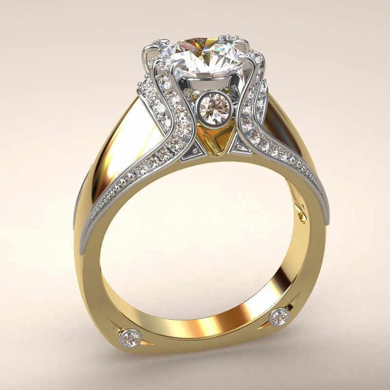 כסף צבע יוקרה נשי זירקון אבן טבעת סט ייחודי סגנון קריסטל כלה טבעת אירוסין הבטחת טבעות לנשים