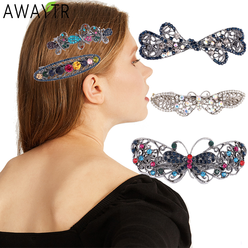 AWAYTR Women Butterfly Barrette Hair Clip Metal Rhinestone Hairpin Hairgrip Girls Bow Hairpins Hollow Jewelry Hair Accessories