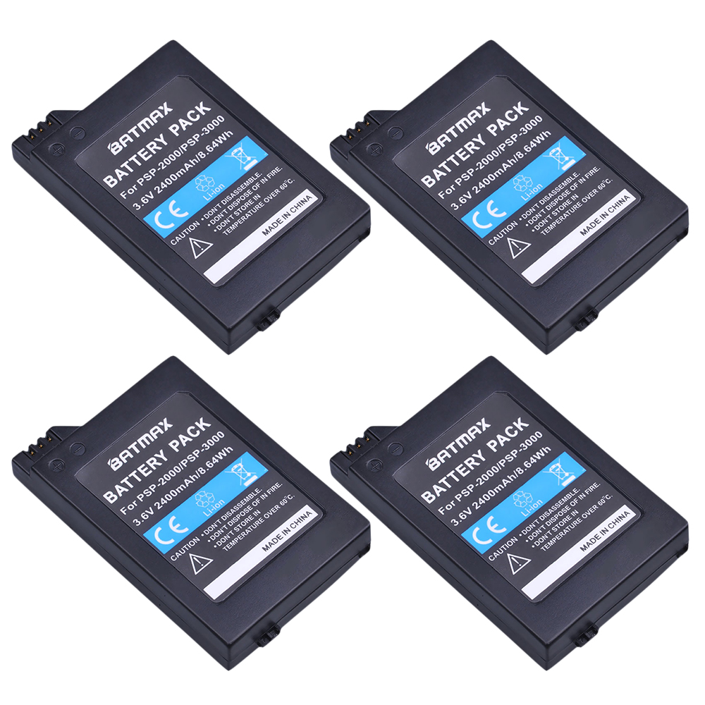 Batmax 4Pc Replacement Battery for Sony PSP2000 PSP3000 PSP 2000 3000 Gamepad for PlayStation Portable Controller image