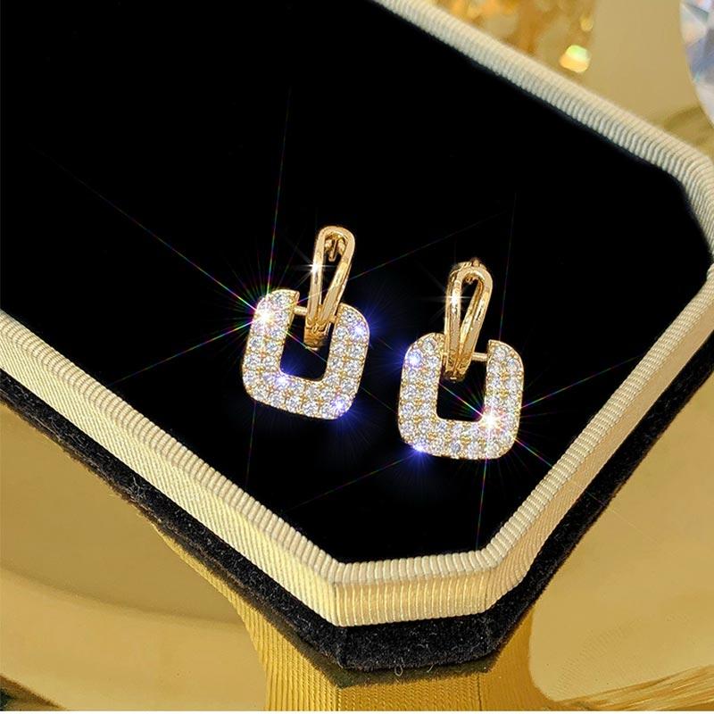 Fashion Jewelry Square Geometric Earrings For Women Crystal Luxury Wedding Rhinestone Earring Gold Color Statement Earrings 2020