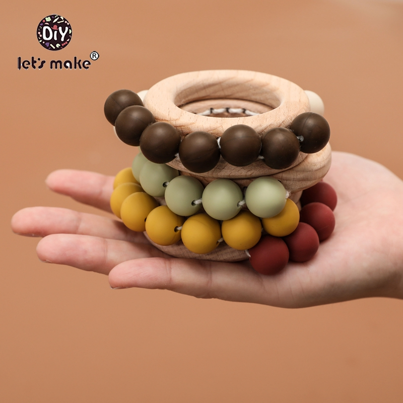 Let'S Make Baby Toys Wooden Rattle Teether Baby Toys Engraved Wood Beads Hexagon Teether Silicone Beads Baby Crib Rattle