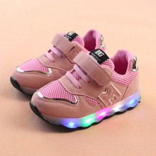 Toddler Kids Mesh Shoes Children Baby Shoes LED Light Up Luminous Sneakers baby schoenen meisje new born baby shoes dropshipping