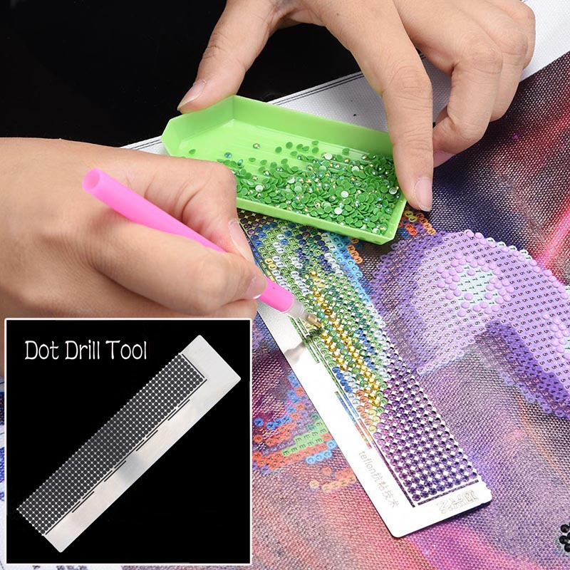 1pc Diamond Painting Embroidery Rhinestone Dot Drilling Ruler Dot Drill Tool 8 Rows <font><b>400</b></font> holes <font><b>16</b></font>*4cm image