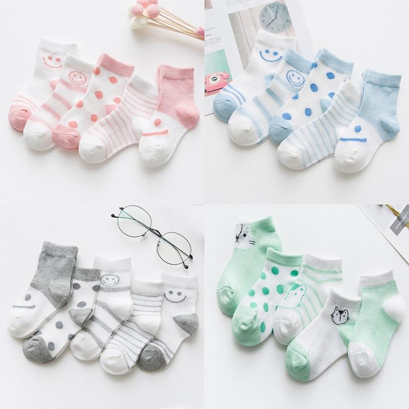 5 Pairs/Lot Baby Socks  For Newborns Infant Cute Cartoons Soft Cotton Socks Summer 0-24 Month Boy Girl Lovely Mesh Kids Gift CN 1
