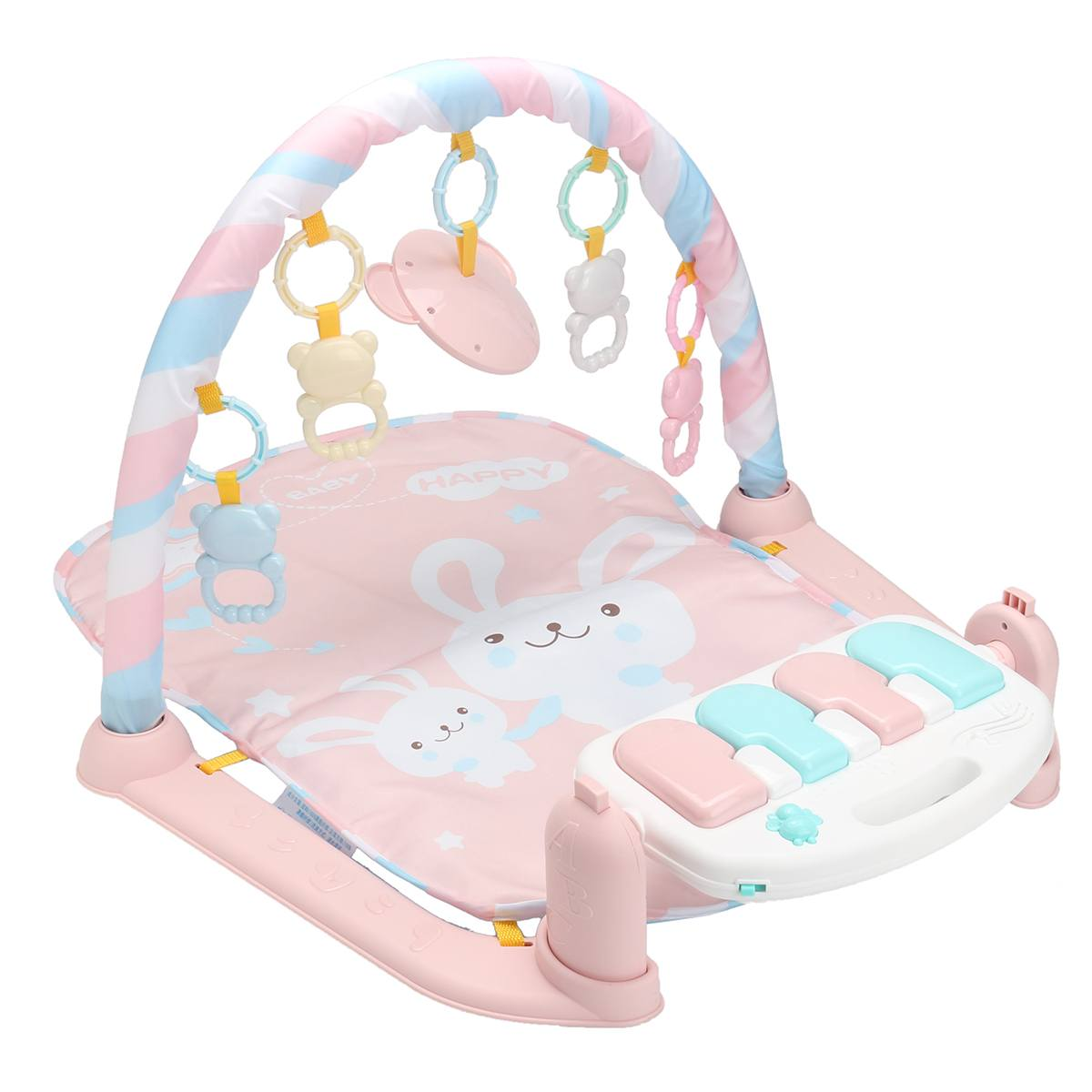 Pink Baby Play Mat Kids Rug Educational Puzzle Carpet With Piano Keyboard Cute Animal Playmat Baby Gym Crawling Activity Mat Toy