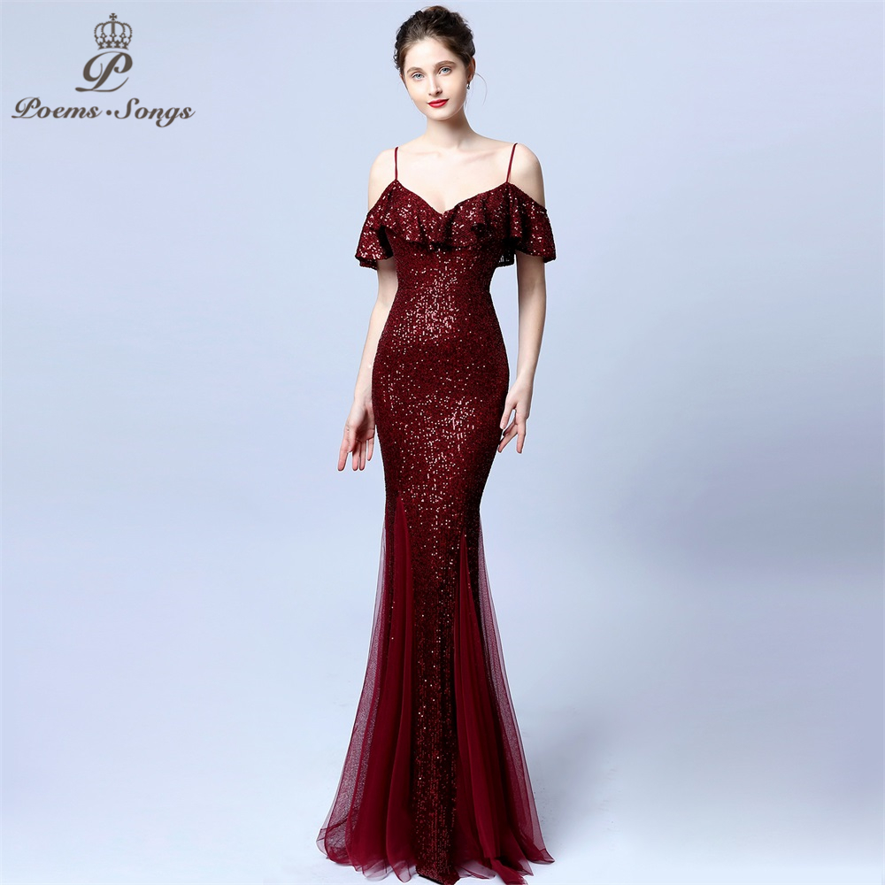 New Sexy Elegant  Evening Dress Vestido De Festa  Candy Colors Long Sequin Prom Gowns Formal Party Dress