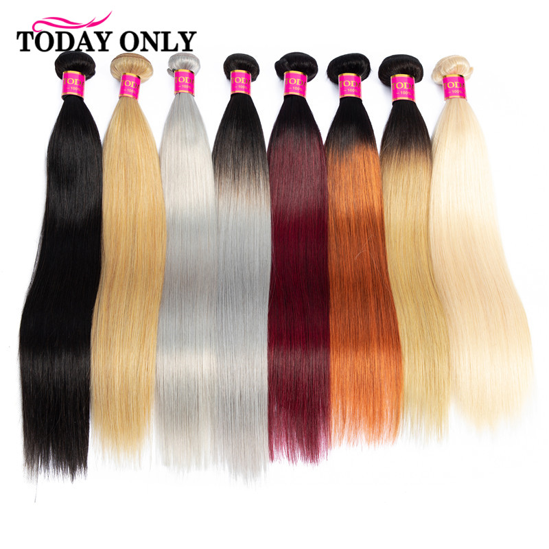 TODAY ONLY 1/3/4 Bundles Peruvian Straight Hair Bundles Remy Human Hair Bundles Ombre Honey Blonde Burgundy 1B/Grey 613 Bundles