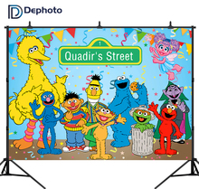 Dephoto Sesame Street Photography Backdrops Colorful Birthday Party Baby Shower Backgrounds Photo Studio Customize Shoot Prop