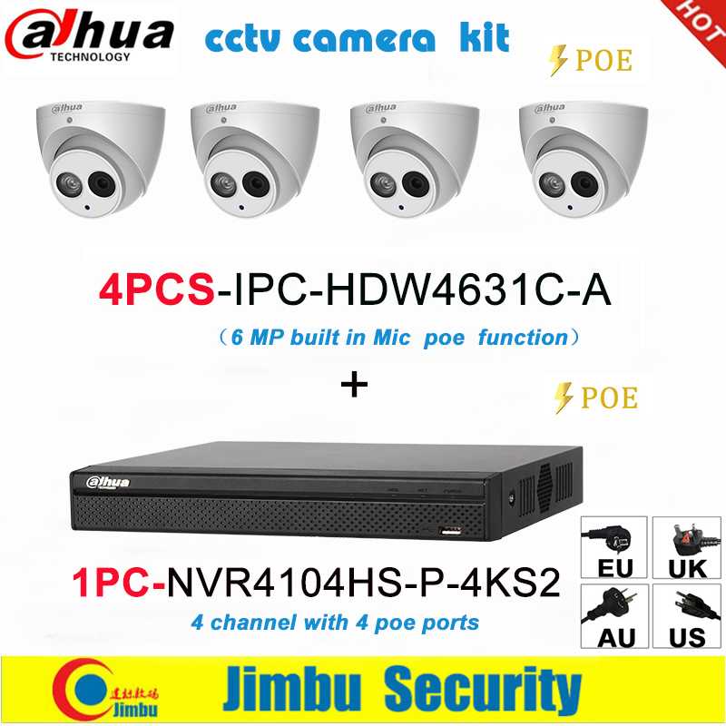 Dahua IP surveilliance system NVR kit  4CH 4K video recorder NVR4104HS P 4KS2 & Dahua 6MP IP camera 4pcs IPC HDW4631C A|Surveillance System|   - title=