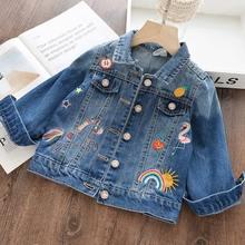 Джинсовая куртка с единорогом для девочек; Детская джинсовая куртка с вышивкой для маленьких девочек; Сезон осень весна; От 3 до 12 лет Одежда для девочек; Верхняя одежда