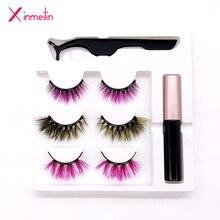 3 set/lot Magnetic False Eyelash Magnetic Eyeliner Tweezers 9D luxurious mink Color Magnet Fake Eyelash Set Multicolor Optional