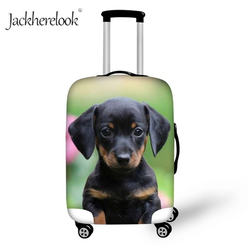 Jackherelook Dachshund Dog Prints Luggage Protective Cover Cute Puppy Suitcase Waterproof Dustproof Covers