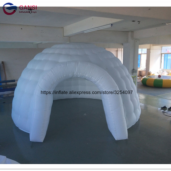 цена на Free shipping door to door white inflatable igloo tent with LED lighting ,customized led inflatable dome tent for party
