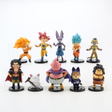 10 adet/grup dragon topu Gogeta Vegeta Z Son Goku Gohan Broly sandıklar Frieza Majin Buu Piccolo Dragonball aksiyon figürü Set PVC oyuncaklar