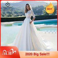 Swanskirt moda satynowa suknia ślubna 2020 luksusowy kryształ pas sąd pociąg linii księżniczka suknie ślubne vestido de novia K160