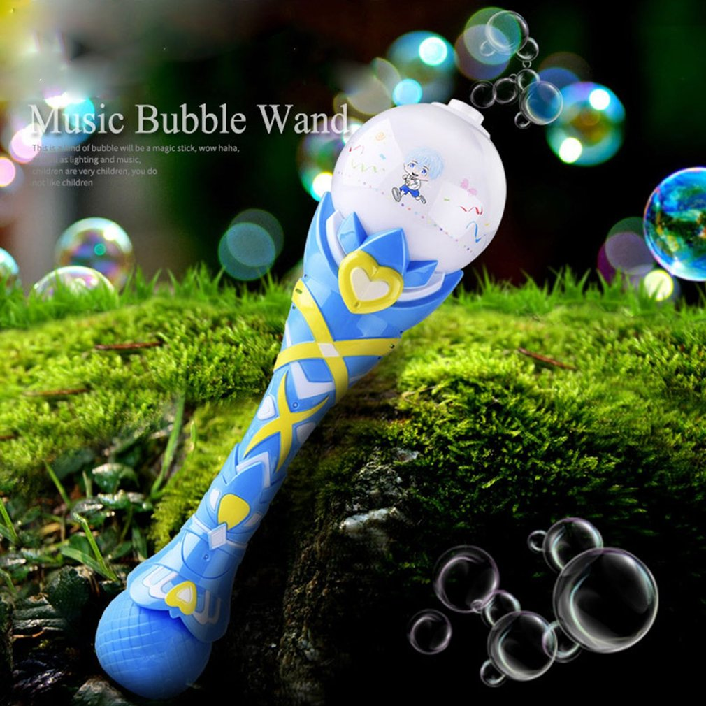 Magic Electric Bubble Wand Toy Creative Light Music Playing Automatic Bubble Maker Sticks Durable Music Bubble Magic Stick Toy