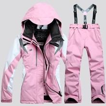 New Women #8217 s Ski Suit Ski Jacket + Pant Scrawl Style Female Snowboarding Set Snowboarding Coat and Trousers Women Ski Suit cheap sceamout Broadcloth Fits true to size take your normal size Snowboarding Sets