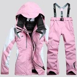 Nuevo traje de esquí para mujer, chaqueta de esquí + pantalón, conjunto de snowboard para mujer, abrigo de snowboard y pantalones, traje de esquí para mujer