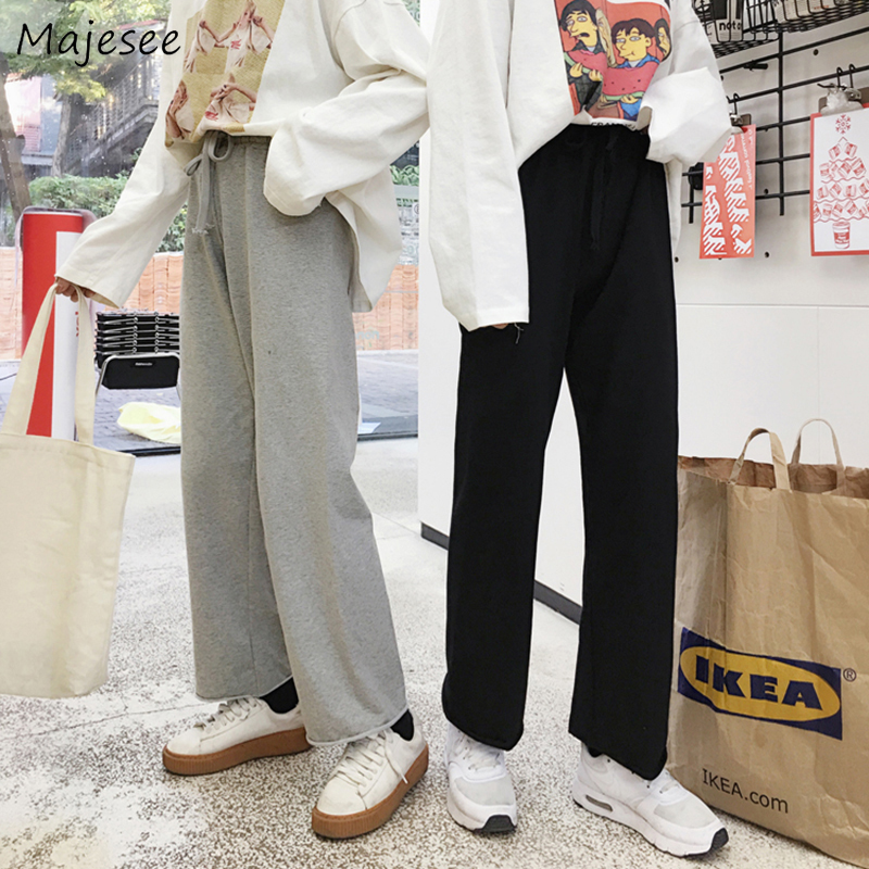 Pants Women Large Size 4XL Ankle-length Straight Simple Solid Soft Trousers Womens Korean Style Harajuku Loose All-match Casual