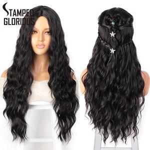 Cor preta vermelha gloriosa estampada longa onda de água penteado perucas para cabelo sintético feminino fibra de alta temperatura tamanho médio