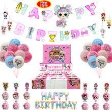 Novo estilo lol surpresa fontes de festa lol omg tema festa de aniversário decoração do miúdo menina festa suprimentos festa balão utensílios de mesa