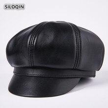 SILOQIN New Snapback Genuine Leather Hat Woman Winter Trend First Layer Sheepskin Newsboy Fashion Leisure Bone Octagonal Cap
