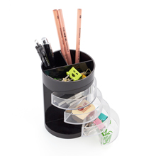 Comix Creative Plaid Desktop Pen Holder Multifunction Desk Storage Box Round Pen Pencil Holder Student Office School Supplies