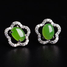 pure silver inlay hetian jade earrings wholesale women with certificate of new natural plum flower
