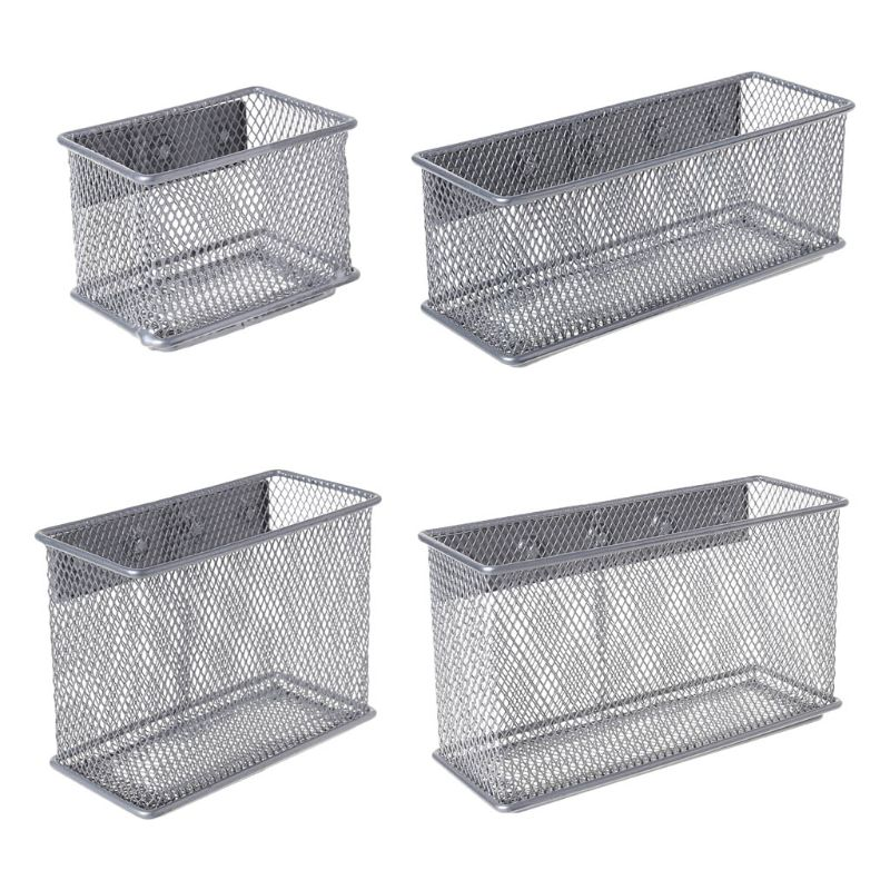 Metal Pen Holder With Magnet Durable Refrigerator Wire Mesh Magnetic Basket Storage Box Pen Makeup Organizer