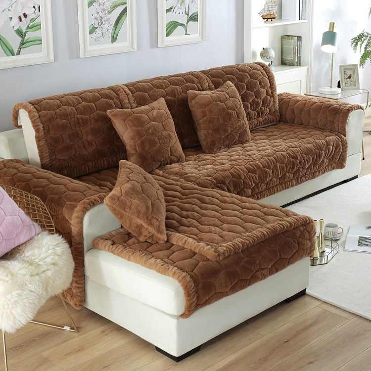 Otoño e Invierno de ala ancha de piel de conejo tela del cojín del sofá antideslizante sofá toalla Simple de felpa cubierta de sofá personalizado
