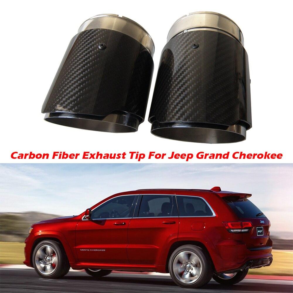 2pcs carbon fiber exhaust tip for jeep grand cherokee carbon fiber muffler tips car exhaust pipes ak logo