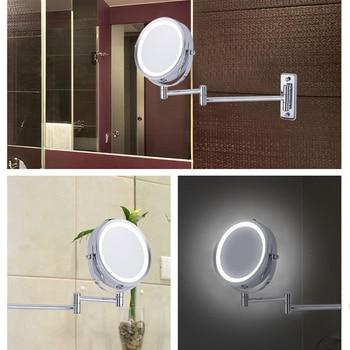 Espejo De Maquillaje Montado En La Pared De Moda Luz LED De Dos Lados 360 Espejo Giratorio Aumento De 5X Para El Baño --- MS