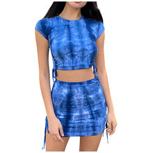 Women Skirts Suits Tie-dye Female Casual Sets Tie Up Two Pieces Show Navel Slim Stretchy Crop Tops Summer High Waist Girl Outfit(China)