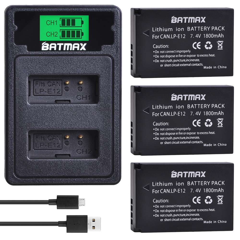 Batmax LP-E12 LPE12 Camera <font><b>Battery</b></font>+LCD USB Dual Charger with Type C Port for <font><b>Canon</b></font> EOS M50, EOS M100,<font><b>100D</b></font> Kiss X7 Rebel SL1 image