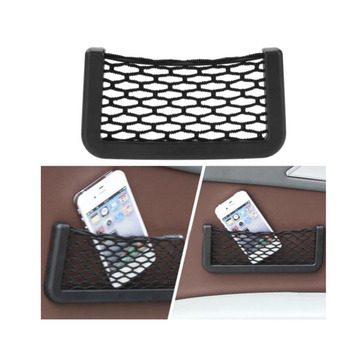 15*8cm Universal Black Car Net Bag Phone Holder Storage Pocket Organizer Car Mesh Net Holder Pocket Organizer image