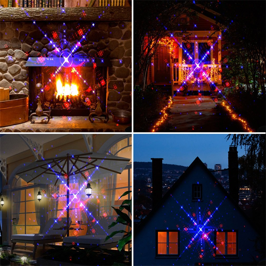 QQ Egg Shape Red & Green Red & Blue Galaxy Laser Shower Laser Light Projector Holiday Twinkling Star Lights Garden Decoration