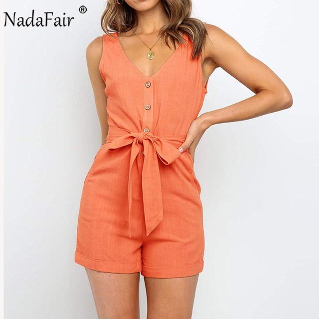 Nadafair Summer Casual Playsuit Women V Neck Belt Tunic Black Orange Pink Solid Overalls For Women Short Jumpsuit 4