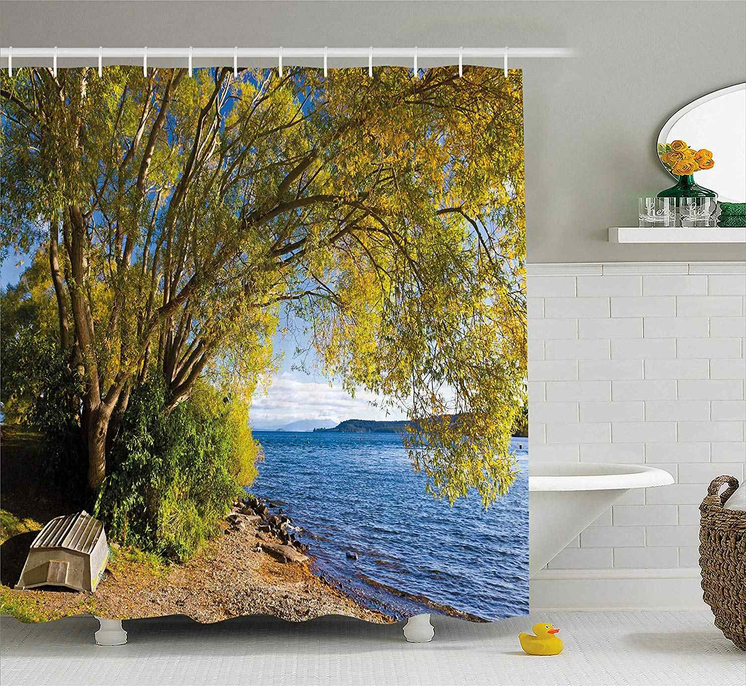 Nature Shower Curtain Small Boat Under Tree By The Lake North Island New Zealand Picturesque View Fabric Bathroom Decor Shower Curtains Aliexpress
