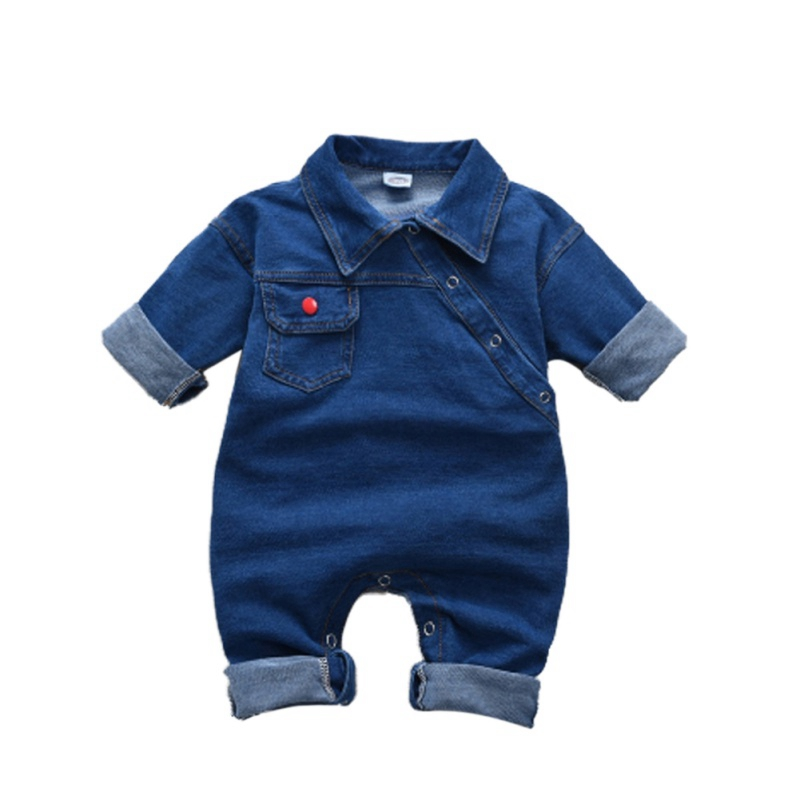 Toddler Baby Girl Boys Denim Romper Long Sleeve Romper Jumpsuit Outfits Clothes