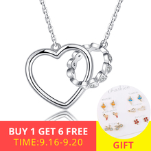 New Listing 925 Sterling Silver Clear CZ  Heart Connect Circle Couple Heart Pendant Necklace for Jewelry Valentine Day Gift недорого