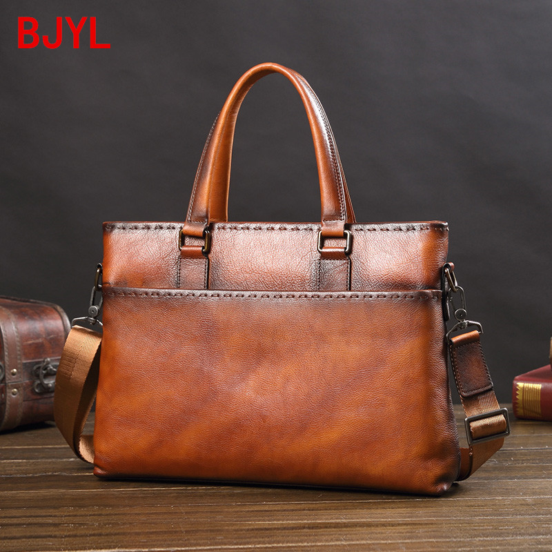 Tide Brand Men's Bag Handbag Leather Business Computer Bag Men's Briefcase Casual Retro European And American Horizontal Section