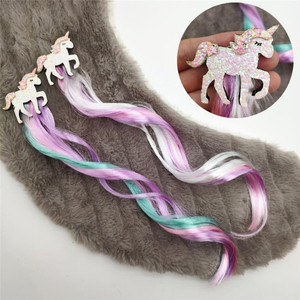 Cute Girls Hairpin Child Twist Hair Clip Simple Barrette Unicorn Cartoon Hair Rope Accessories Kids Wig Rope Hair Head Wear(China)