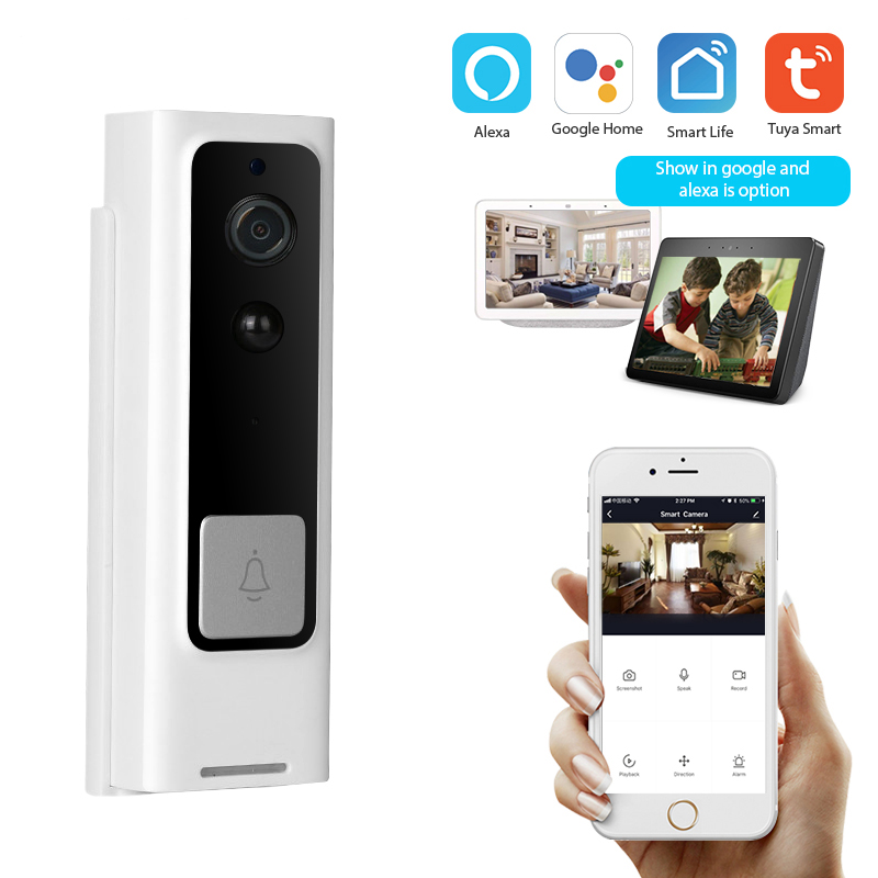 Smart Wifi Doorbell Wireless Intercom 1080P Camera Night Vision Pir Motion Sensor Tuya Smart Life App Work With Alexa And Google