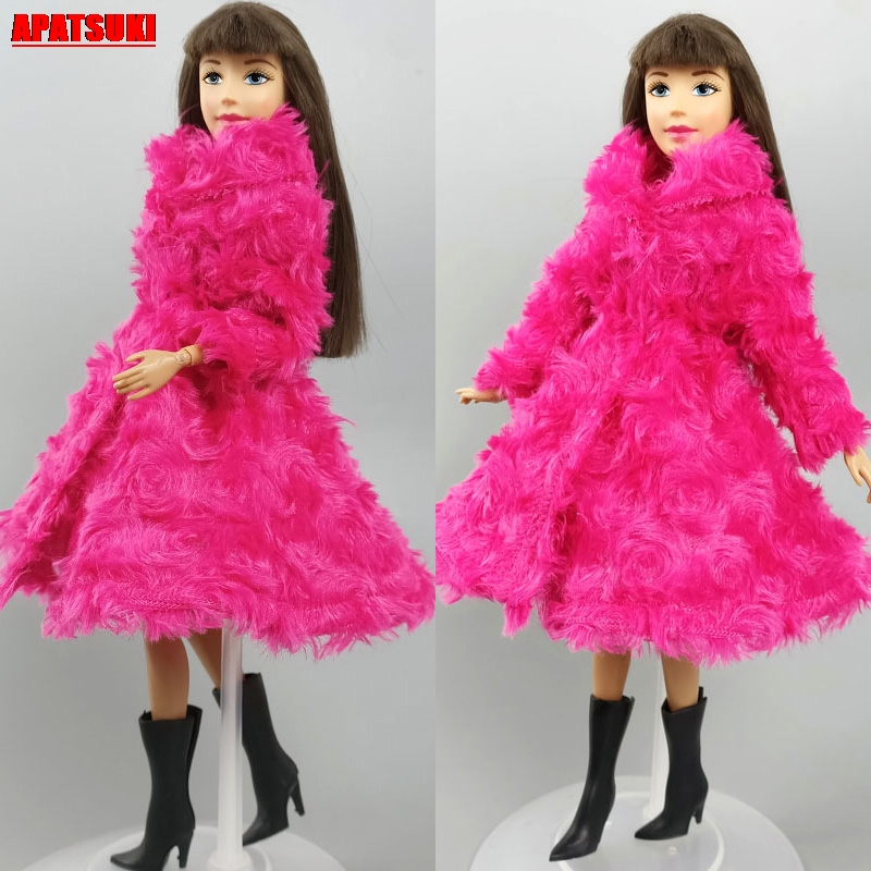 Winter Long Sleeve Fur Tops Pink Outwear Overcoat Jacket For Barbie Doll Outfits Clothes For 1/6 BJD Doll Cloth Doll Accessories