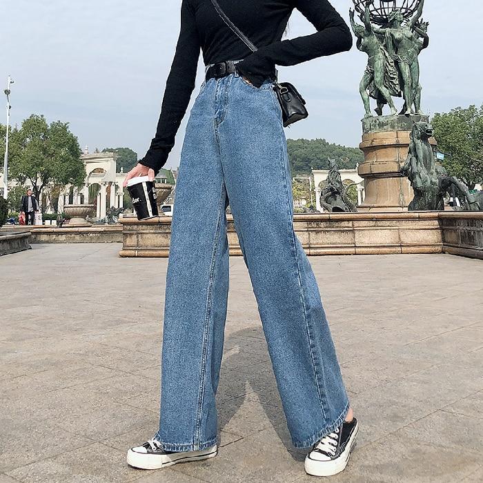 Plus Size High Waist Wide Leg Straight Loose Long Jeans For Women S M L XL 2XL 3XL 4XL 5XL