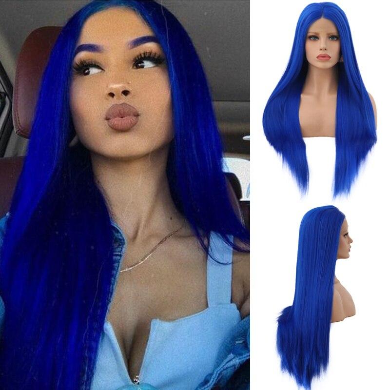 Carisma longo cabelo reto peruca dianteira do laço sintético resistente ao calor peruca azul pré arrancado glueless perucas para preto