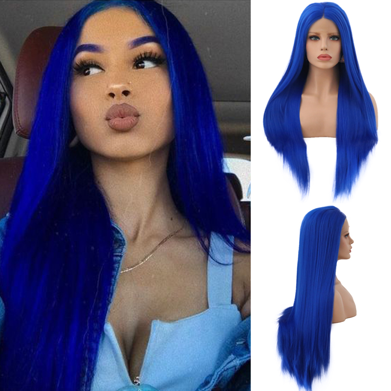 Charisma Long Straight Hair Synthetic Lace Front Wig Heat Resistant Blue Wig Pre Plucked Glueless Wigs For Black Women(China)